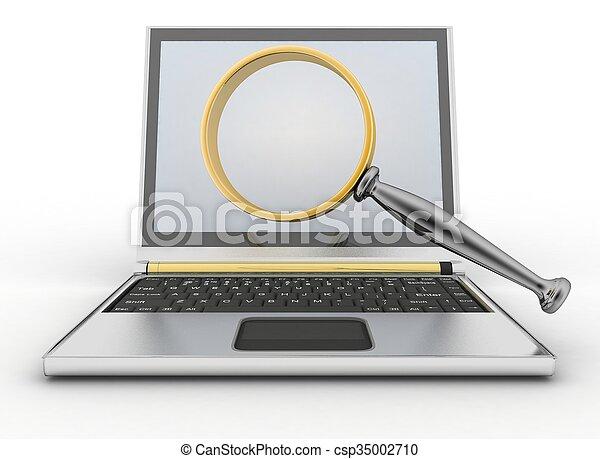 玻璃, 笔记本电脑, 扩大 - csp35002710