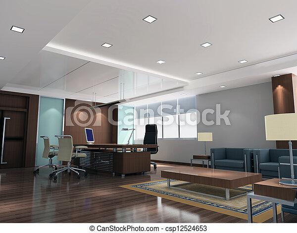 現代部屋, オフィス, 3d - csp12524653
