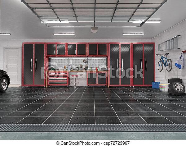 現代, イラスト, ガレージ, interior., 回転, 門, 3d - csp72723967