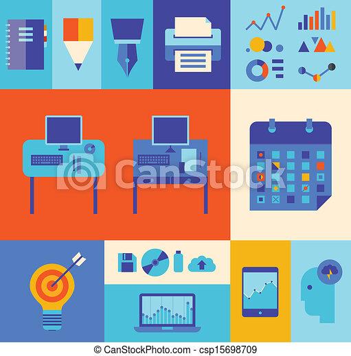 現代, セット, ビジネス 実例, ワークフロー - csp15698709