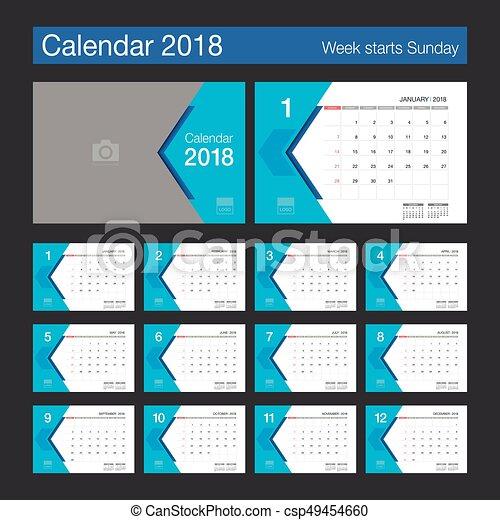現代 calendar デザイン 2018 卓上カレンダー template 週
