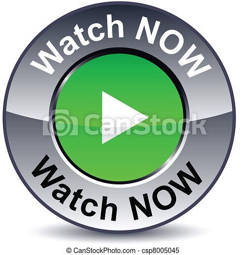 現在, 觀看, 輪, button. - csp8005045