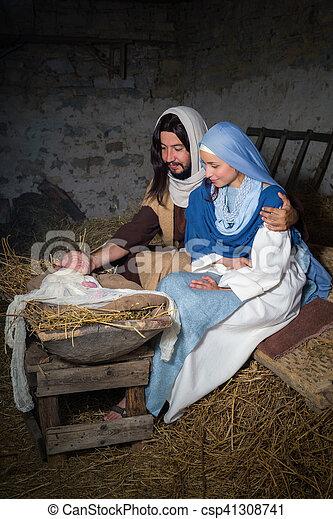 現場, mary, ヨセフ, nativity - csp41308741