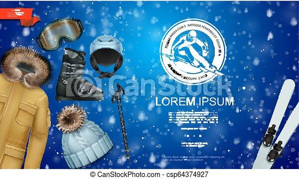 現実的, スポーツ, 冬, テンプレート - csp64374927