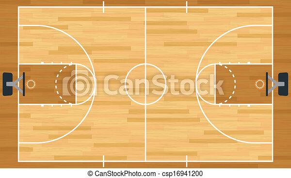 現実的, バスケットボール, ベクトル, 法廷 - csp16941200