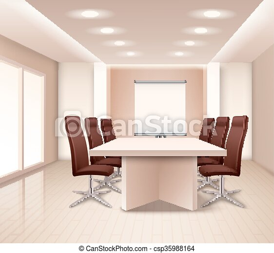 現実的, ミーティング, 内部, 部屋 - csp35988164