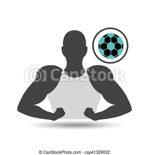 球, 侧面影象, 显示, 肌肉, 足球, 人 - csp41329032