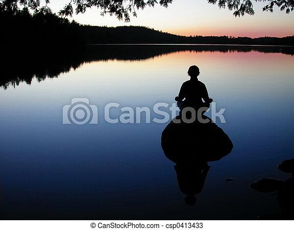 瑜伽, 湖 - csp0413433