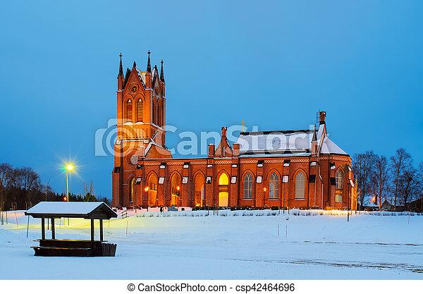 瑞典, 晚上, 教堂 - csp42464696
