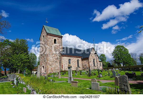 瑞典, 老教堂 - csp34281007