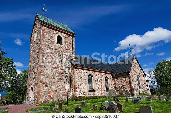 瑞典, 老教堂 - csp33516037