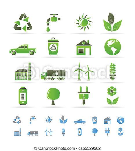 環境, エコロジー, アイコン - csp5529562