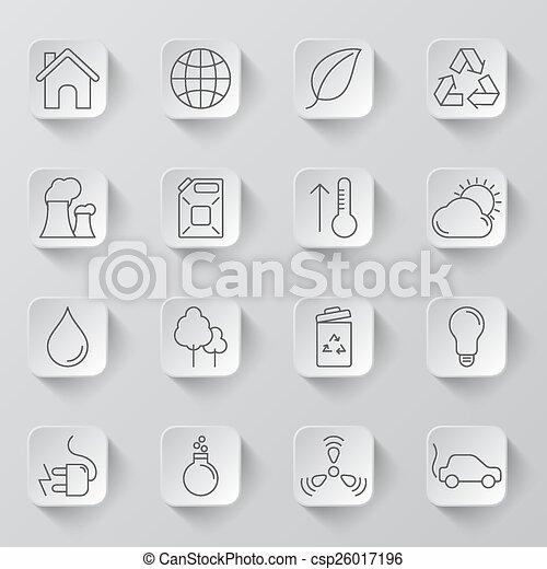 環境, エコロジー, アイコン - csp26017196