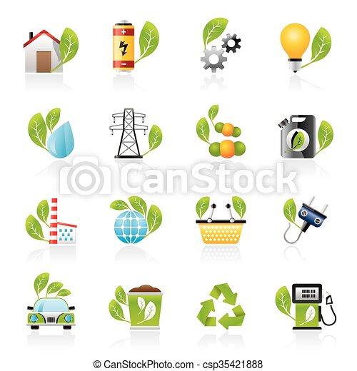 環境, エコロジー, アイコン - csp35421888