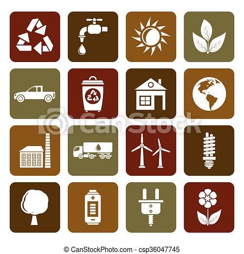 環境, エコロジー, アイコン - csp36047745