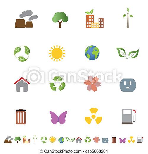 環境, エコロジー, セット, アイコン - csp5668204