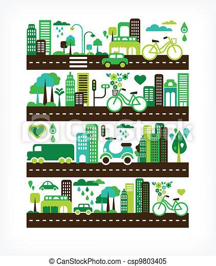 環境, 都市, エコロジー, -, 緑 - csp9803405