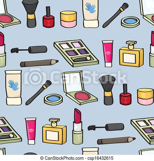 瓦片, 化妆品, seamless, 卡通漫画 - csp16432615
