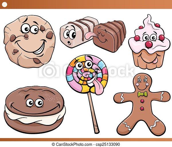 甘いもの, クッキー, セット, 漫画 - csp25133090