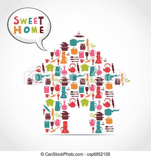 甘い, カード, 家 - csp6952158