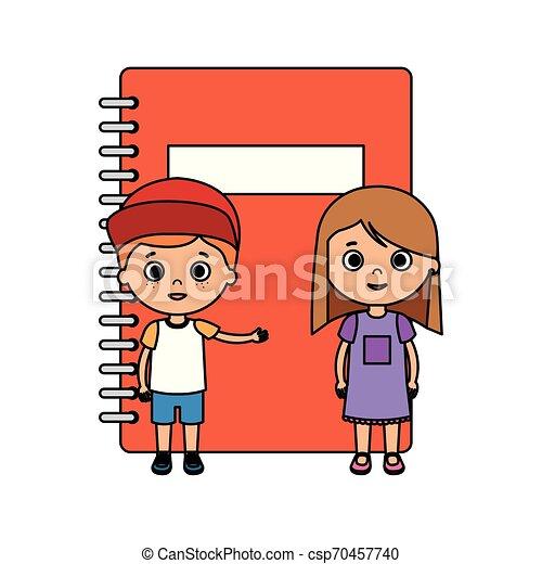 生徒, わずかしか, 子供, 恋人, ノート - csp70457740