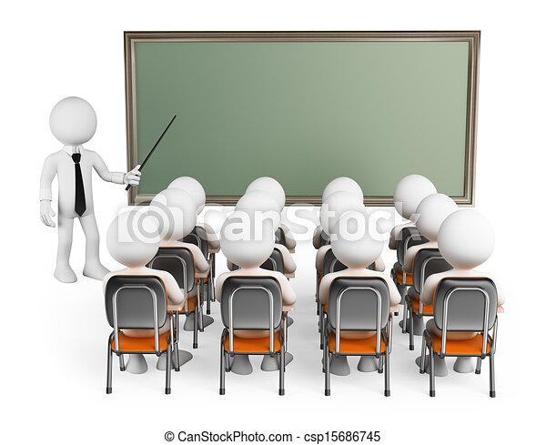 生徒, 人々。, 3d, 白, クラス - csp15686745