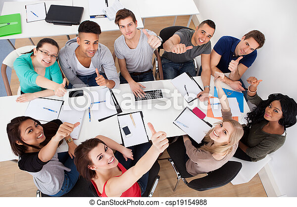生徒, 大学, グループ, 勉強しなさい - csp19154988