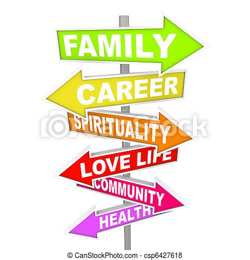 生活, もの, -, priorities, 重要, 矢, サイン, バランス - csp6427618