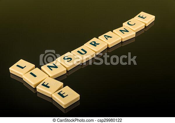 生活, ブロック, 保険, 手紙 - csp29980122