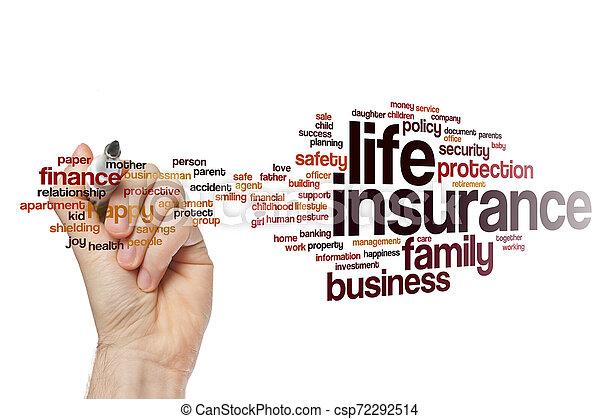 生活, 単語, 保険, 雲 - csp72292514