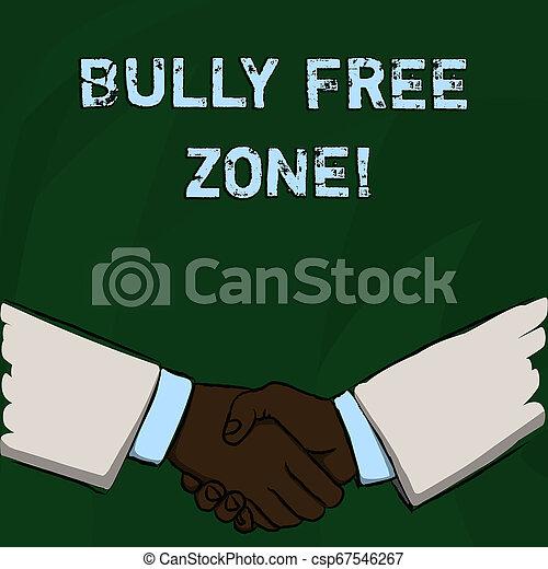 生活, 概念, 単語, bully, 形態, 挨拶, 作成, テキスト, zone., 無料で, 執筆, ビジネス, agreement., 学校, 濫用, 大学, ビジネスマン, 手が震える, ジェスチャー, しっかりと - csp67546267
