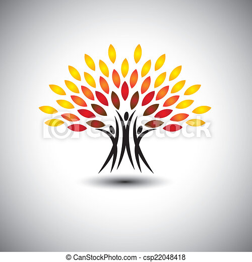 生活, 概念, 幸せ, うれしい, eco, 人々, -, 木, vector. - csp22048418