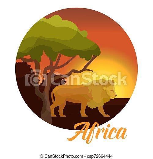 生活, badge., 動物, illustration., 自然, concept., ライオン, アフリカ, 活版印刷, ベクトル, 日没, アフリカ, baobab, 野生, 野生生物, 一周される - csp72664444