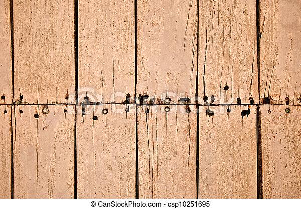 生锈, 老, 结构, 钉子, 板, 背景, 起伏不平 - csp10251695