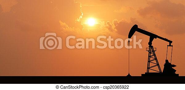 産業, エネルギー, 石油, 機械, ポンプ, オイル, デザイン, 背景, 用具一式, 日没 - csp20365922