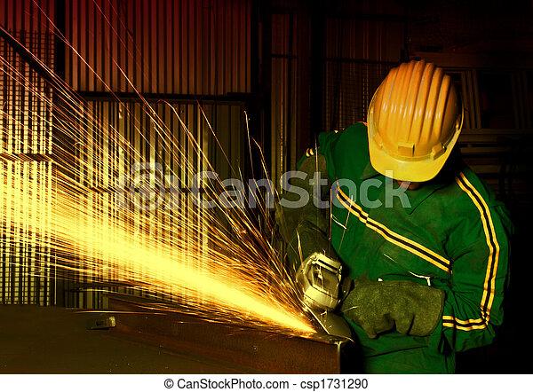 産業, 重い, 粉砕器, 手動 労働者 - csp1731290