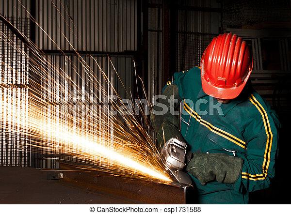 産業, 重い, 粉砕器, 手動 労働者 - csp1731588