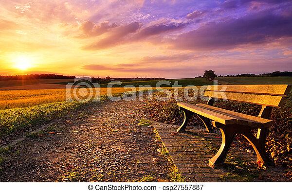 田園, 日没, カラフルである, idyll - csp27557887