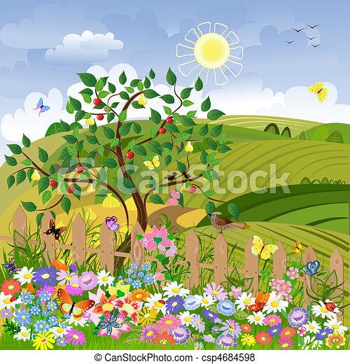 田園 景色, 果樹, フェンス - csp4684598
