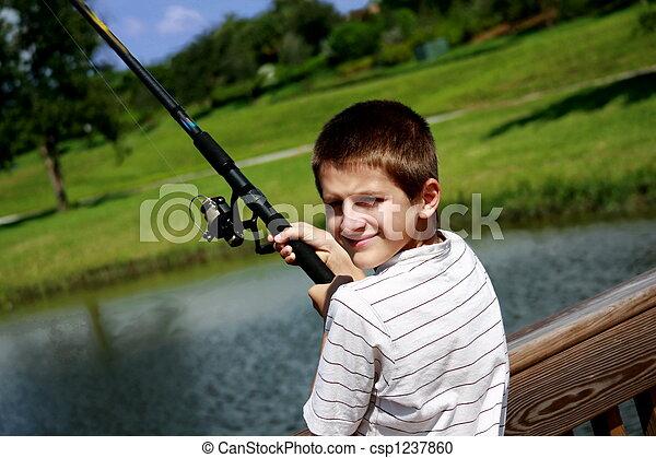 男の子釣, 池 - csp1237860