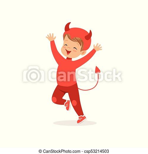 男の子, わずかしか, かわいい, 服を着せられる, ハロウィーン, イラスト, ベクトル, 衣装, 悪魔, 赤, 子供 - csp53214503