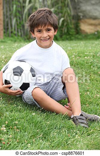 男の子, わずかしか, フットボール - csp8876601