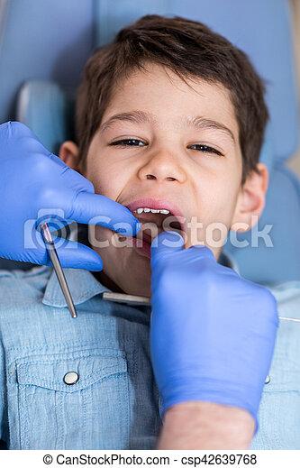 男の子, わずかしか, レギュラー, 歯科 検査 - csp42639768