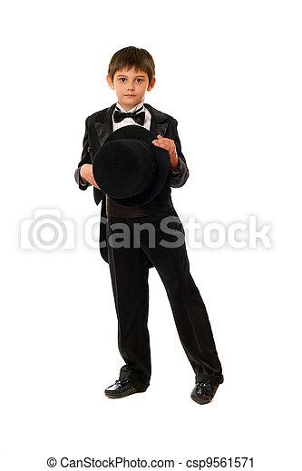 男の子, わずかしか, 帽子, タキシード - csp9561571