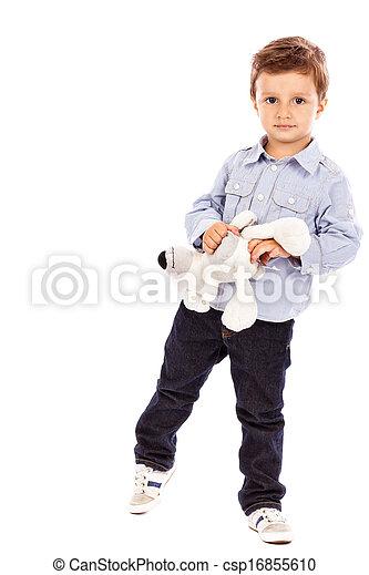 男の子, わずかしか, 彼の, 熊, おもちゃ, 肖像画, 愛らしい, 遊び - csp16855610