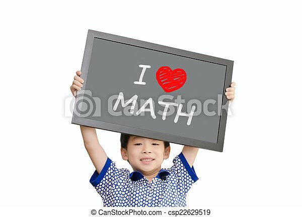 """男の子, わずかしか, 愛, 科学, """"i, アジア人, 保有物, メッセージ, 黒板 - csp22629519"""