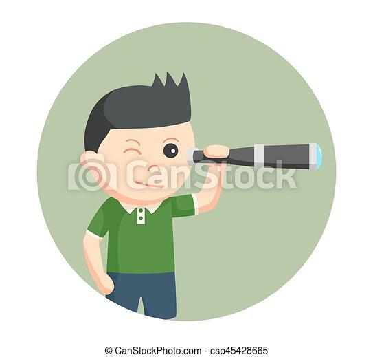 男の子, わずかしか, 望遠鏡, 背景, 使うこと, 円 - csp45428665