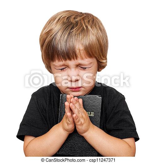 男の子, わずかしか, 祈ること - csp11247371