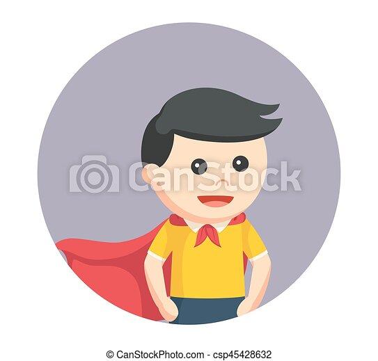 男の子, わずかしか, 英雄, 背景, 円, 極度 - csp45428632