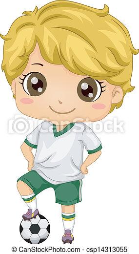 男の子, サッカー, 子供 - csp14313055